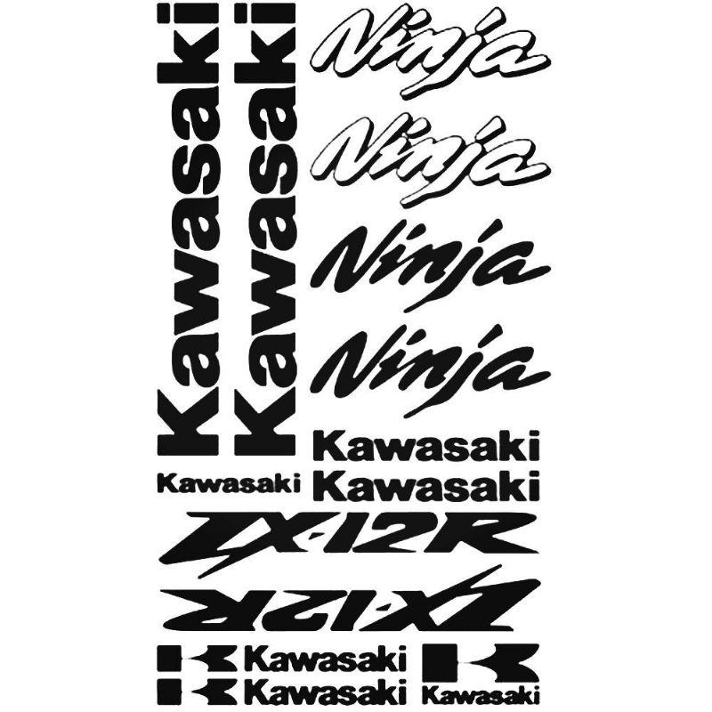 Kawasaki ZX-12R Ninja Stickers (BLACK)
